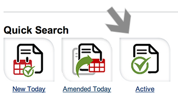 Screenshot of arrow pointing at Quick Search icon