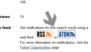 Screenshot of arrow pointing at subscribe to Atom and RSS icons