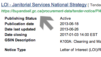 Screenshot of arrow pointing at tender notice link
