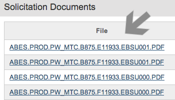 Screenshot of arrow pointing at tenders files to download