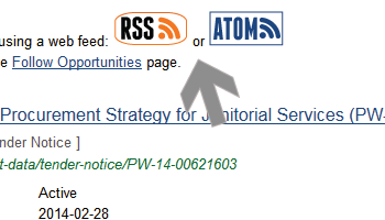 Screenshot of arrow pointing at web feed links