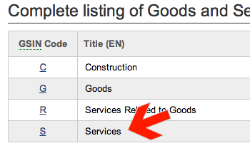 Screenshot of arrow pointing at Services link
