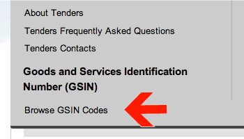 Screenshot of arrow pointing at Browse GSIN Codes