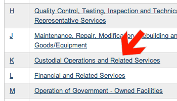 Screenshot of arrow pointing to Custodial Operations and Related Services