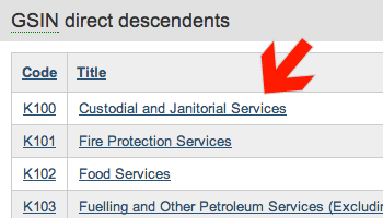 Screenshot of arrow pointing at S-K100 Custodial and Janitorial Services