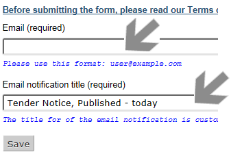Screenshot of arrow pointing at a subscription form
