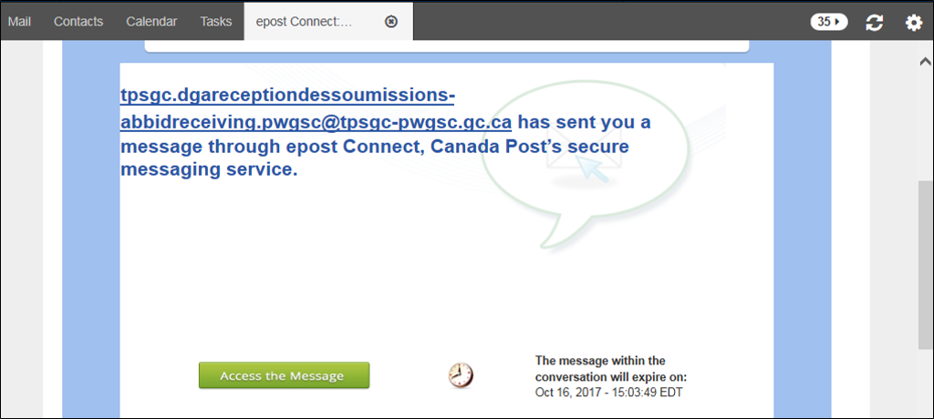 screenshot of the green access the message button within the email