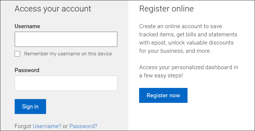 screenshot of the epost Connect Sign in and Register page