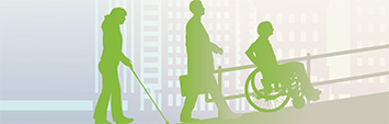 Image of 3 individuals walking up a ramp; one of a person with a visual impairment with a white cane, one of an individual with a briefcase and one of a person in a wheelchair.