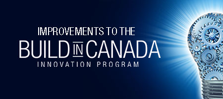 Graphic representing improvement to the Build in Canada Innovation Program