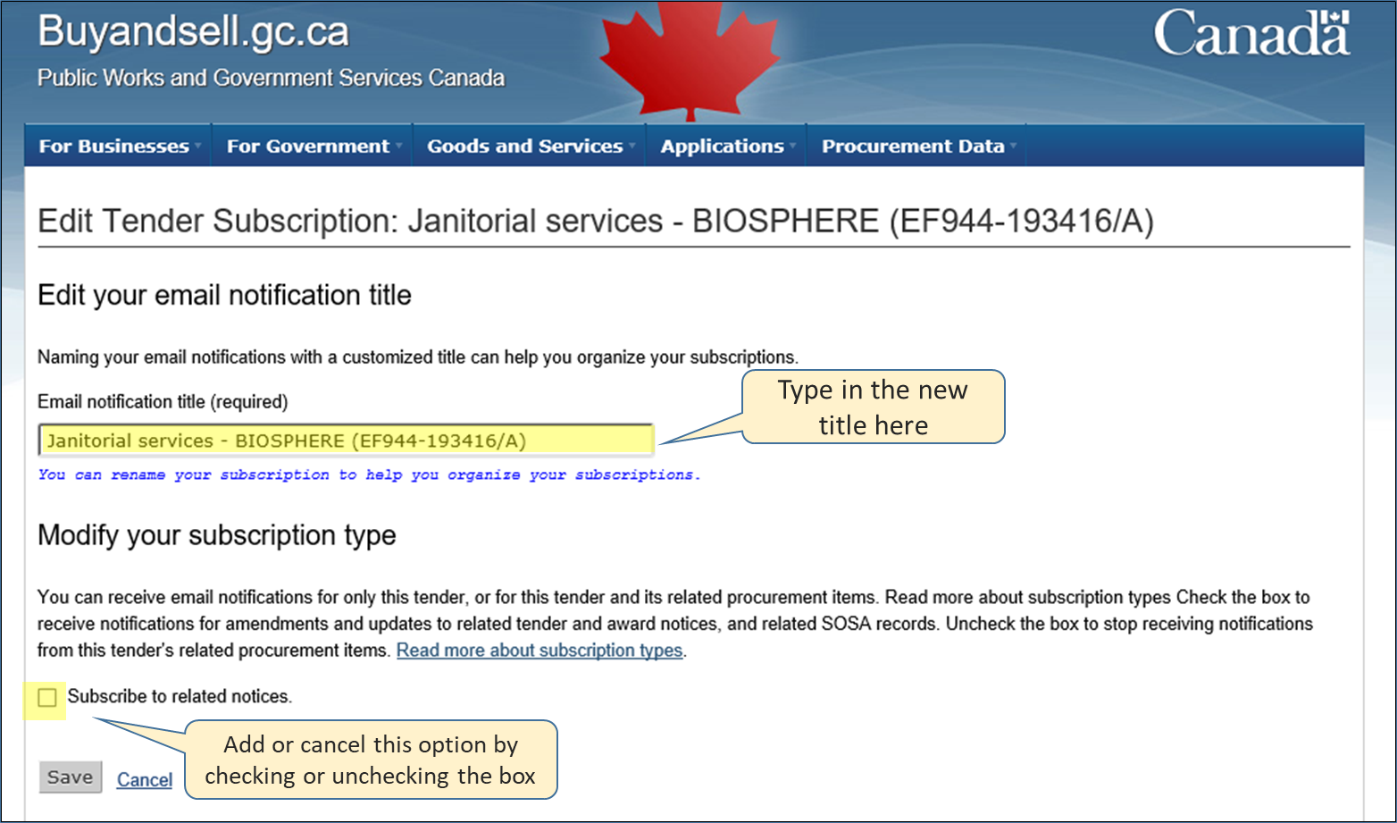 Screenshot of the tender subscription editing page