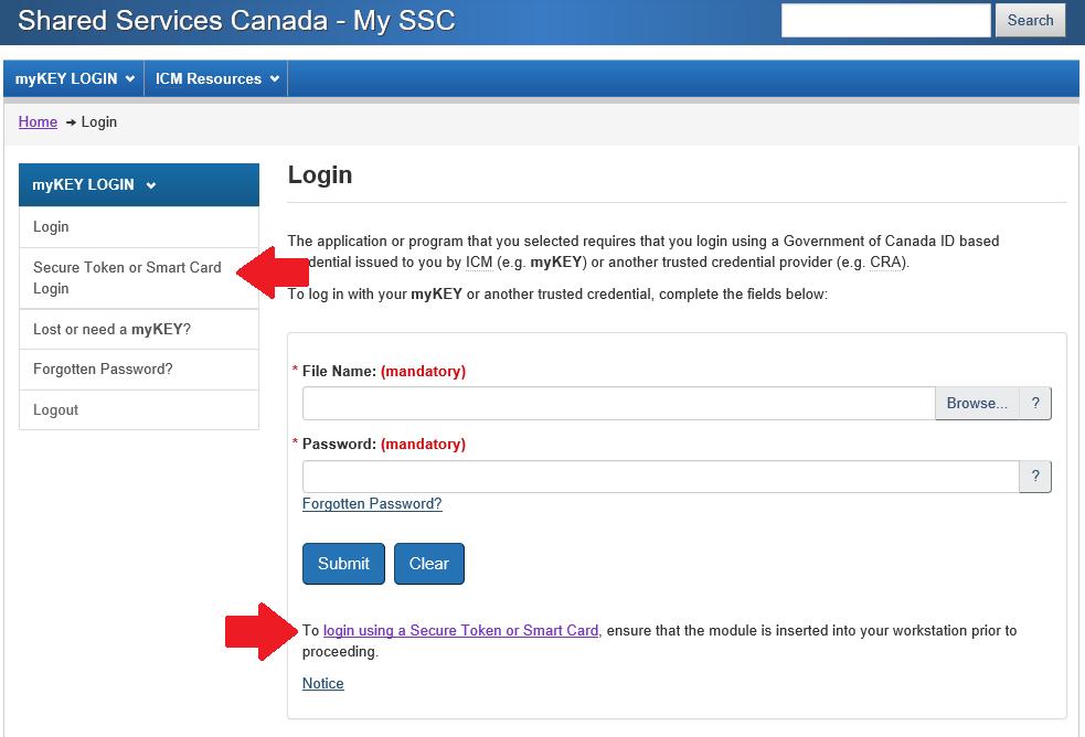 Screenshot of Smart Card login