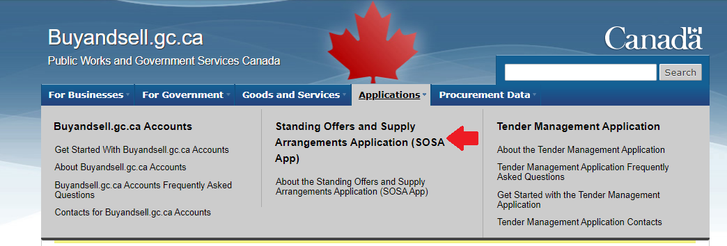 Screenshot navigation to SOSA App on Buyandsell.gc.ca